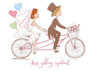 Newly wedded on bicycle / Shop of little joys