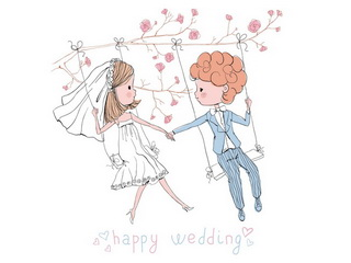 Newly wedded on swing / Shop of little joys