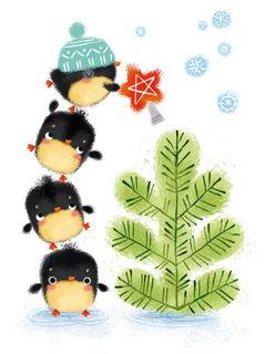 Пингвины наряжают ёлку / Shop of little joys