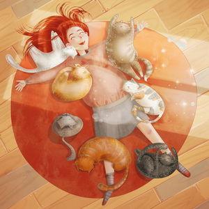 Лежать с котами